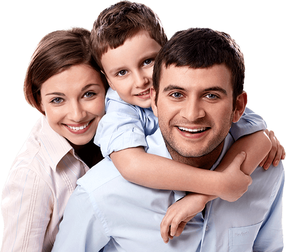 Family of three smiling and hugging