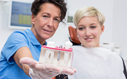 Dentist showing patient a dental implant model