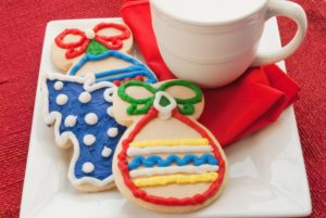 Christmas cookies and hot chocolate.