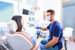 woman visiting dentist in Columbia